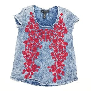 INC Womens Red Embroidered Floral Shirt Top XS